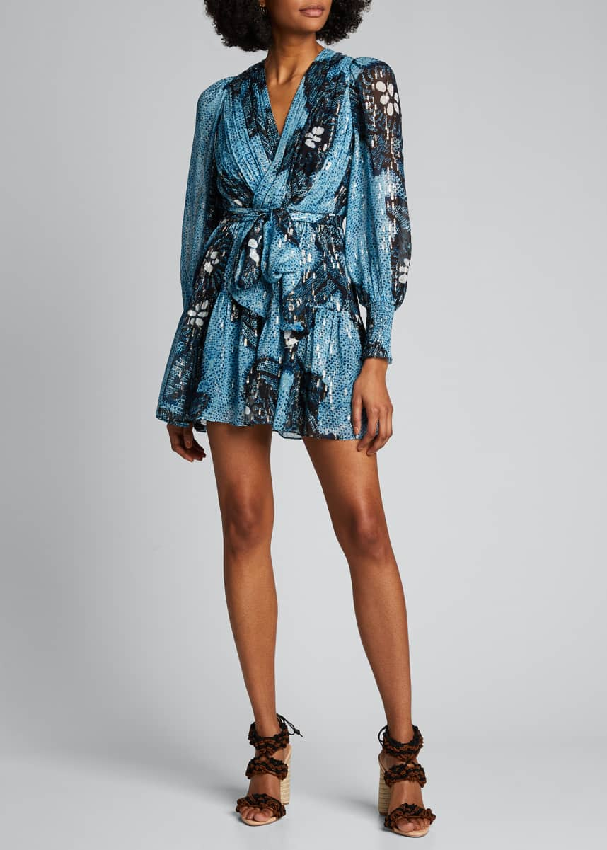 Ulla Johnson Noemi Printed Metallic Wrap Dress