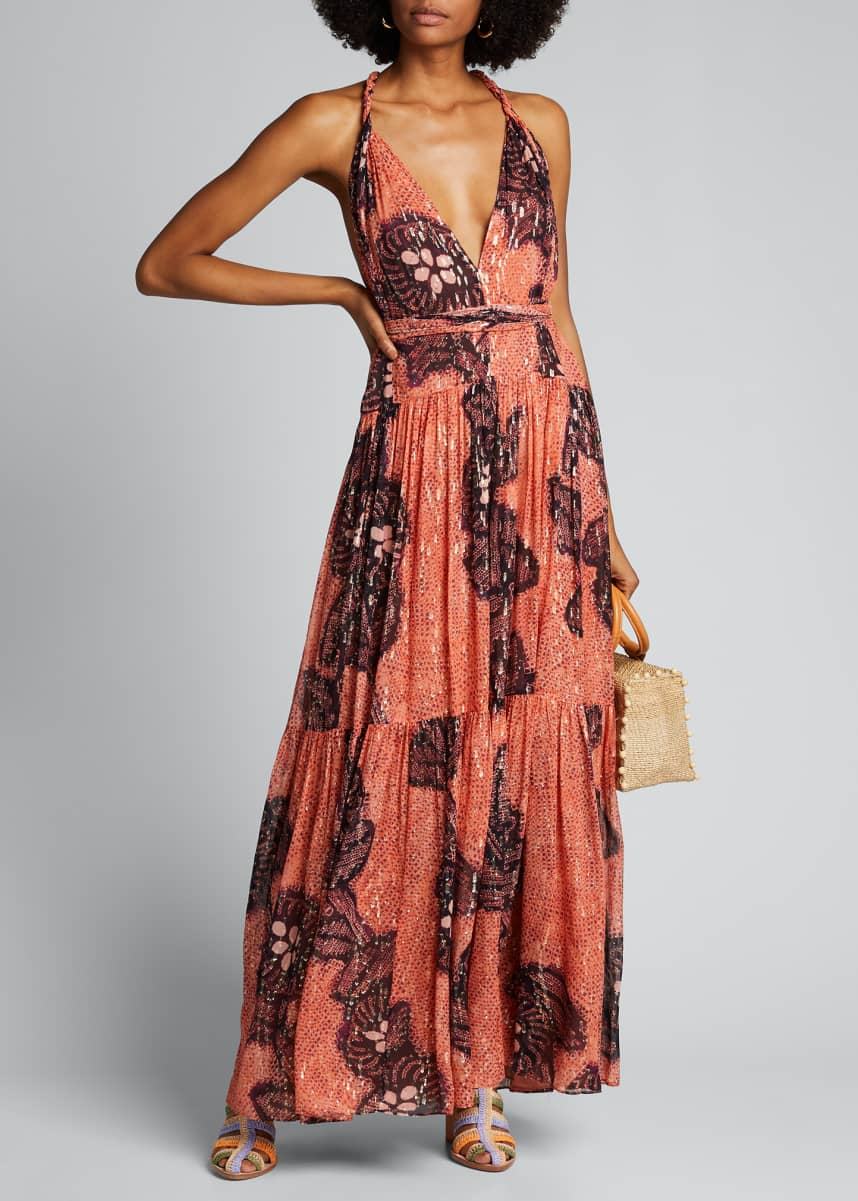 Ulla Johnson Kemala Printed Open-Back Maxi Dress