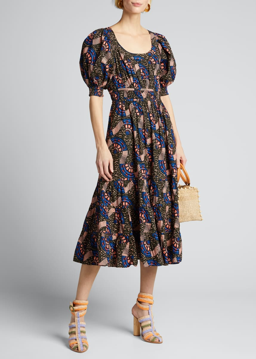 Ulla Johnson Juniper Puff-Sleeve Printed Midi Dress