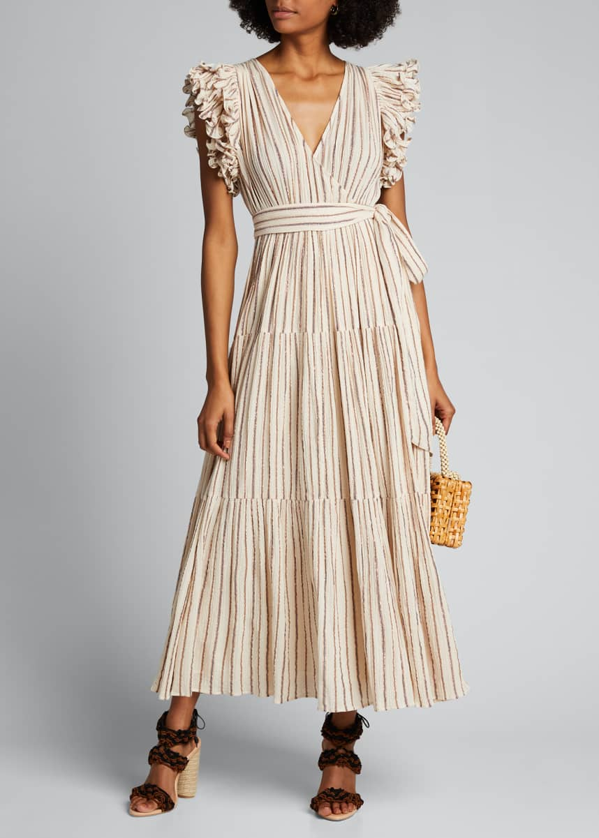 Ulla Johnson Lilliana Striped Ruffle-Sleeve Wrap Dress