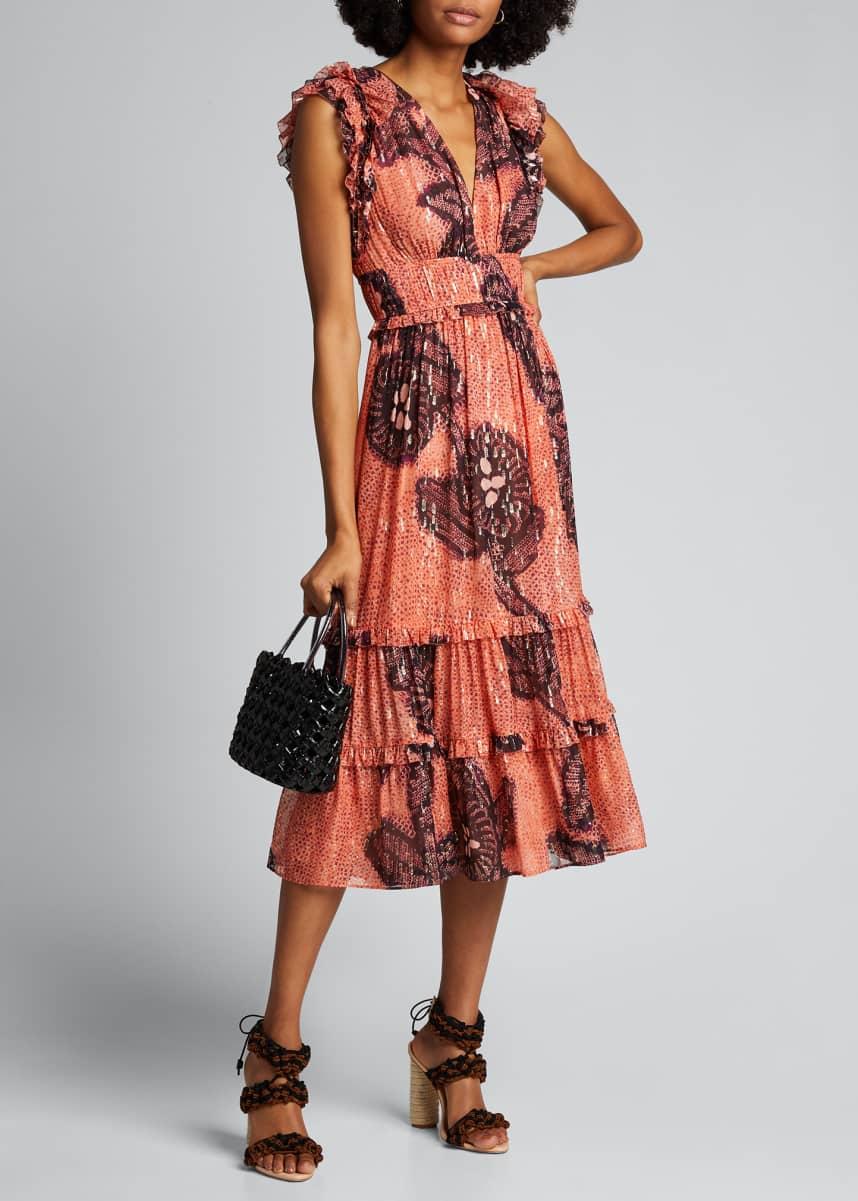 Ulla Johnson Akira Printed Metallic Midi Dress