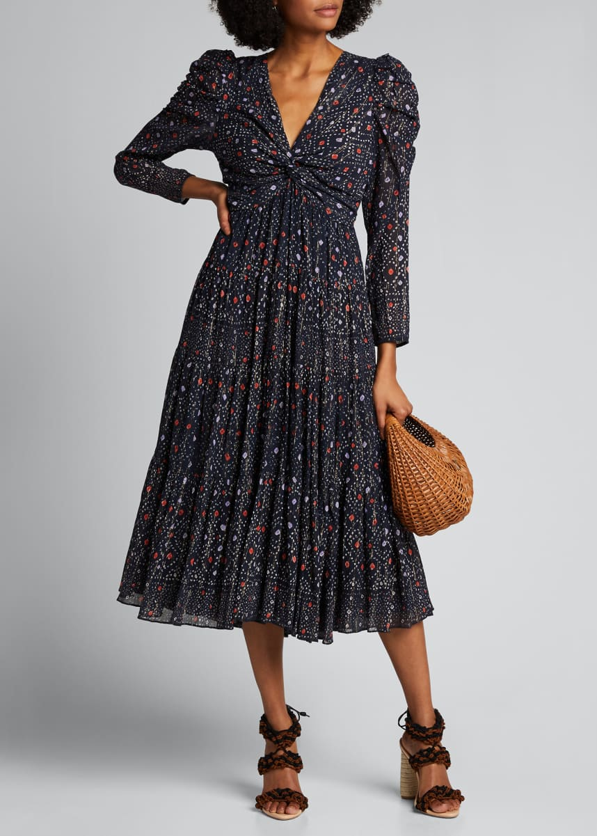 Ulla Johnson Miya Printed Twist-Front Dress