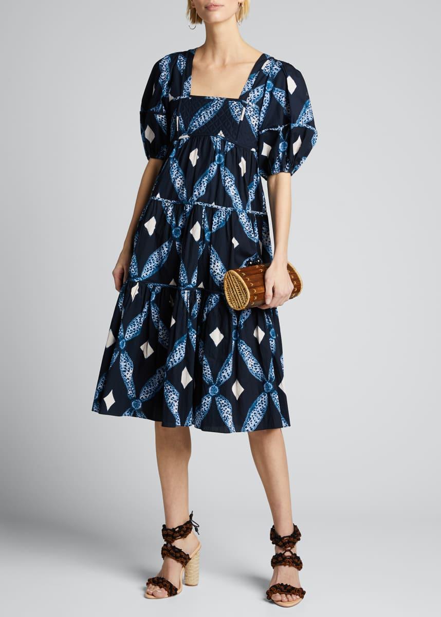 Ulla Johnson Nora Printed Square-Neck Puff-Sleeve Dress