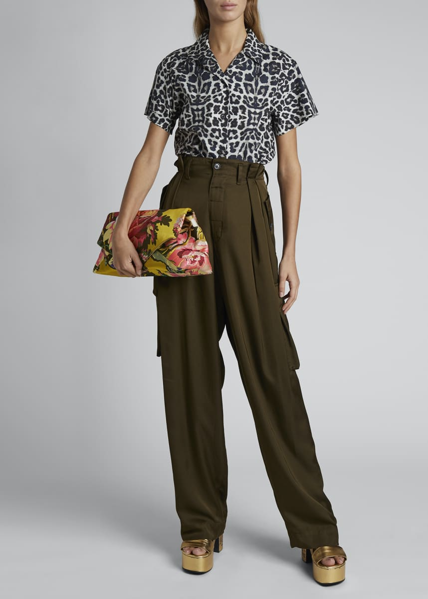 Dries Van Noten High-Rise Pleated Cargo Pants