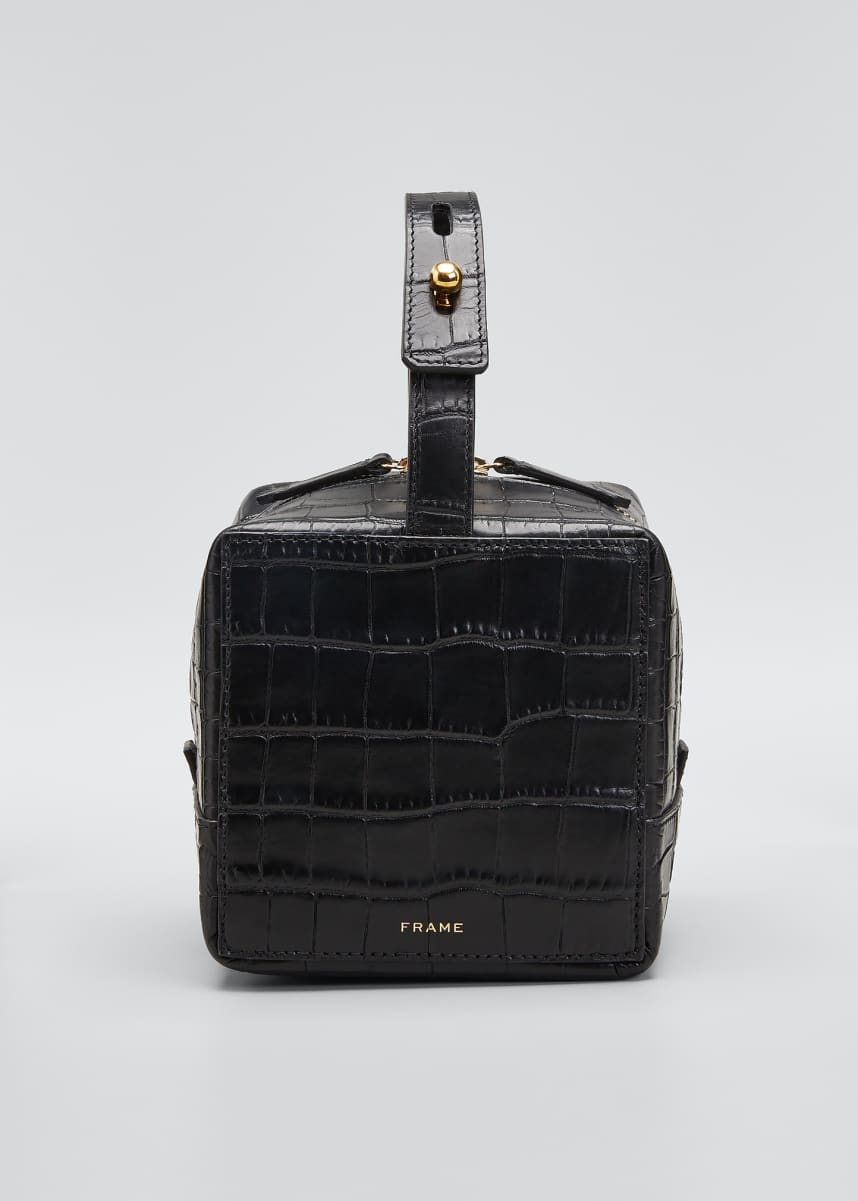 FRAME Croco Cube Top Handle Box Bag