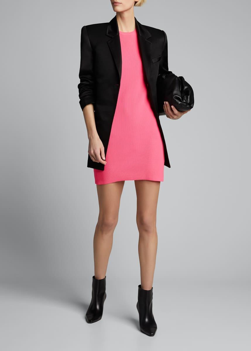 Helmut Lang Ribbed Neon Mini Dress