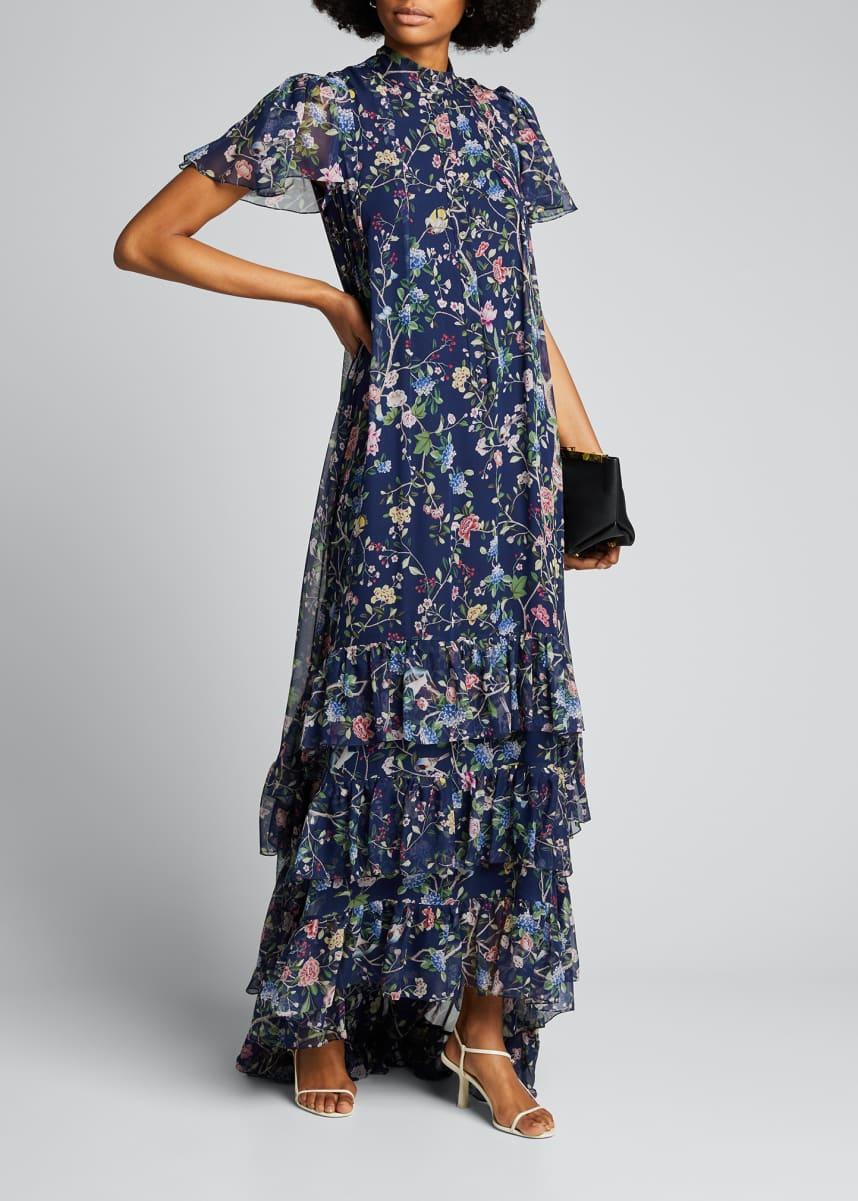 Erdem Aurelio Floral Print Mock-Neck Gown