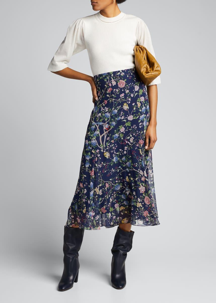Erdem Shea Flora Zigzag Godet Maxi Skirt