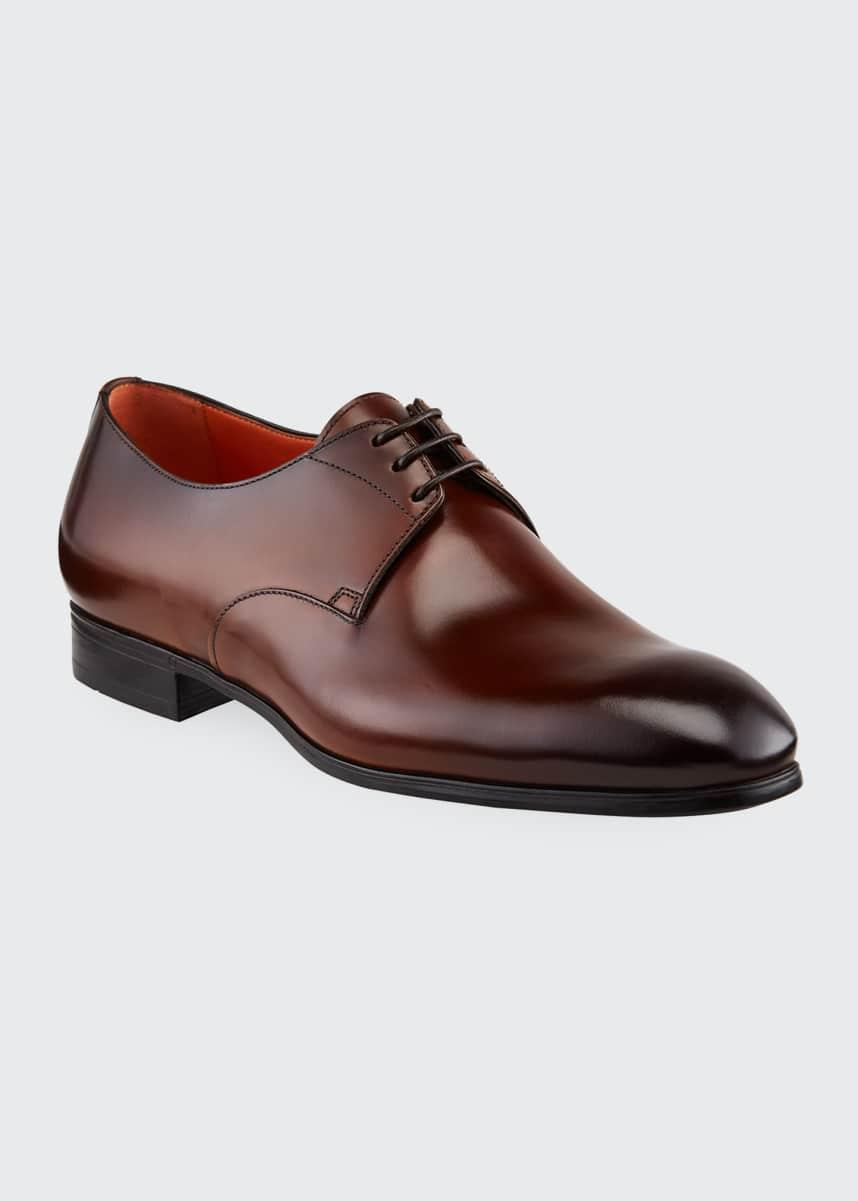 Santoni Men's Induct Burnished Leather Derby Shoes