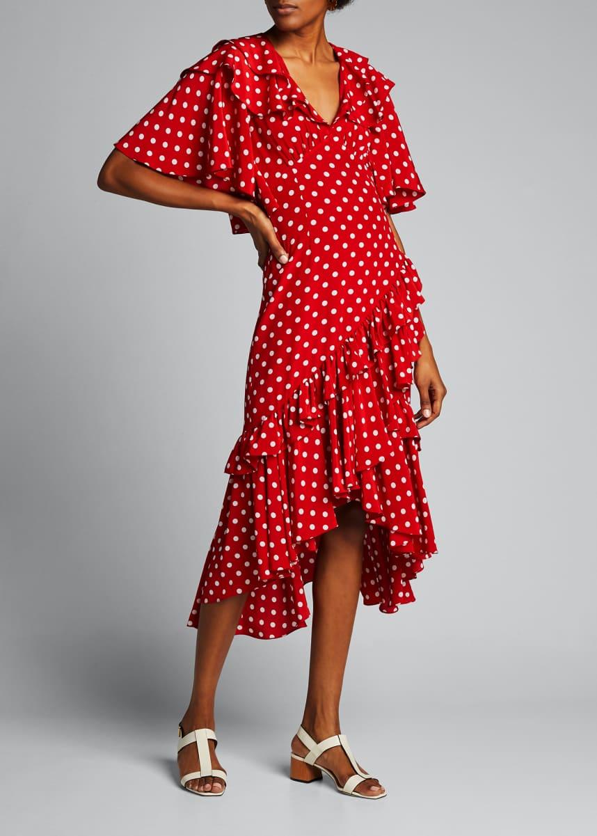Michael Kors Collection Dot Asymmetric Ruffle Dress