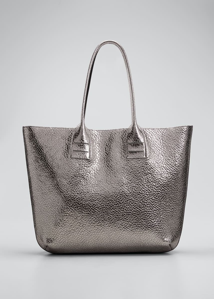 Brunello Cucinelli Large Glossy Textured Leather Tote Bag