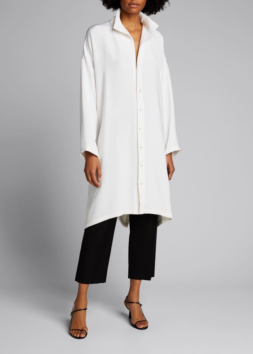 Eskandar Wide A-line Mid Weight Silk Long Shirt