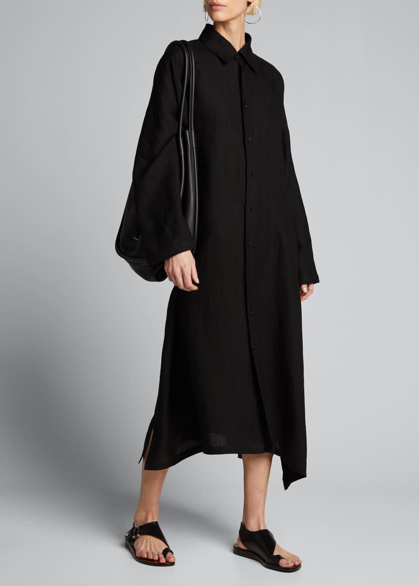 Eskandar Linen Wide A-Line Shirtdress