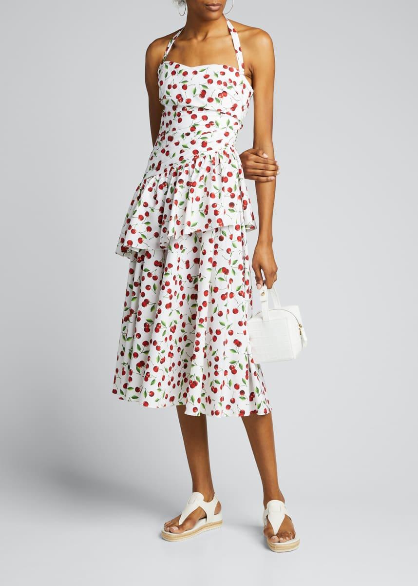 Michael Kors Collection Cherry Print Ruched Peplum Halter Dress