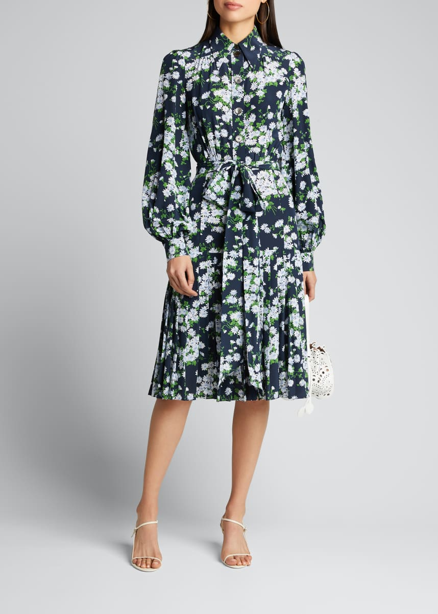 Michael Kors Collection Floral-Print Pleated Silk Shirtdress