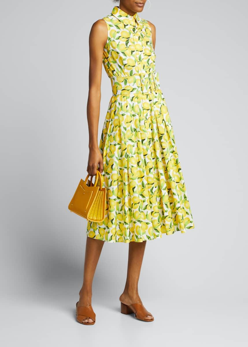 Michael Kors Collection Lemon-Print Sleeveless Shirtdress with Belt