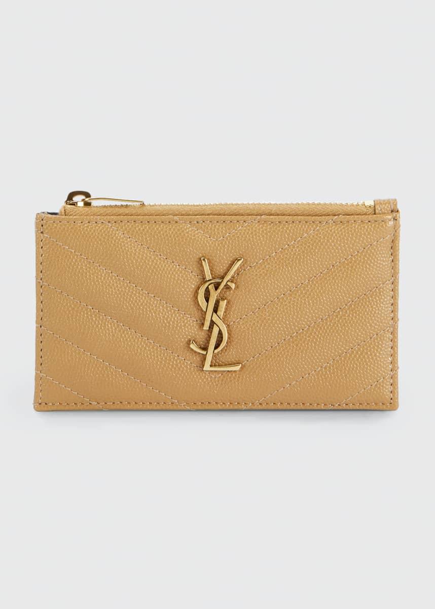 Saint Laurent Zip Fragments YSL Monogram Zip Pouch Wallet