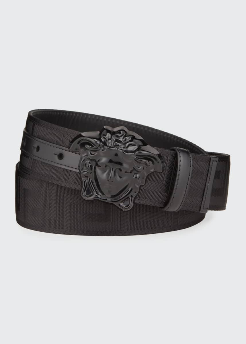 Versace Men's Tonal Medusa/Greek Key Web Belt