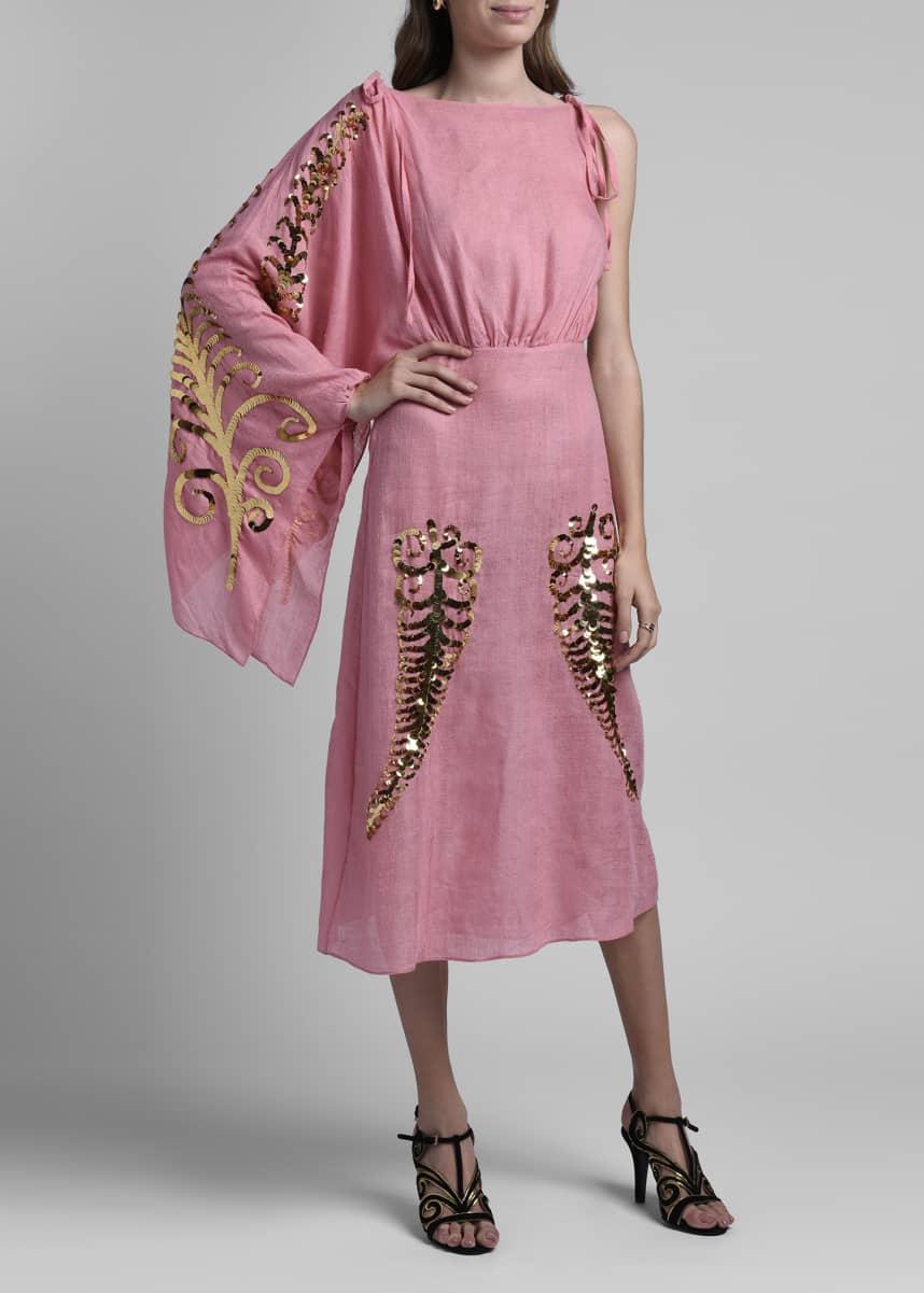 Prada Toile Gauze Dress w/ Sequin Detail
