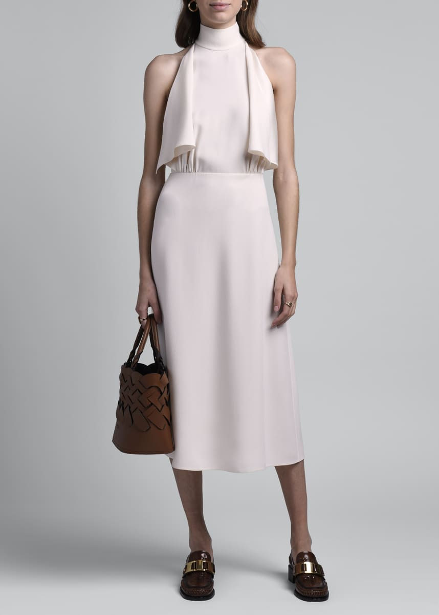 Prada Sable Raso High-Neck Sleeveless Dress