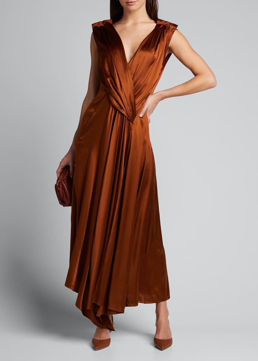 PETAR PETROV Aria Gathered V-Neck Dress