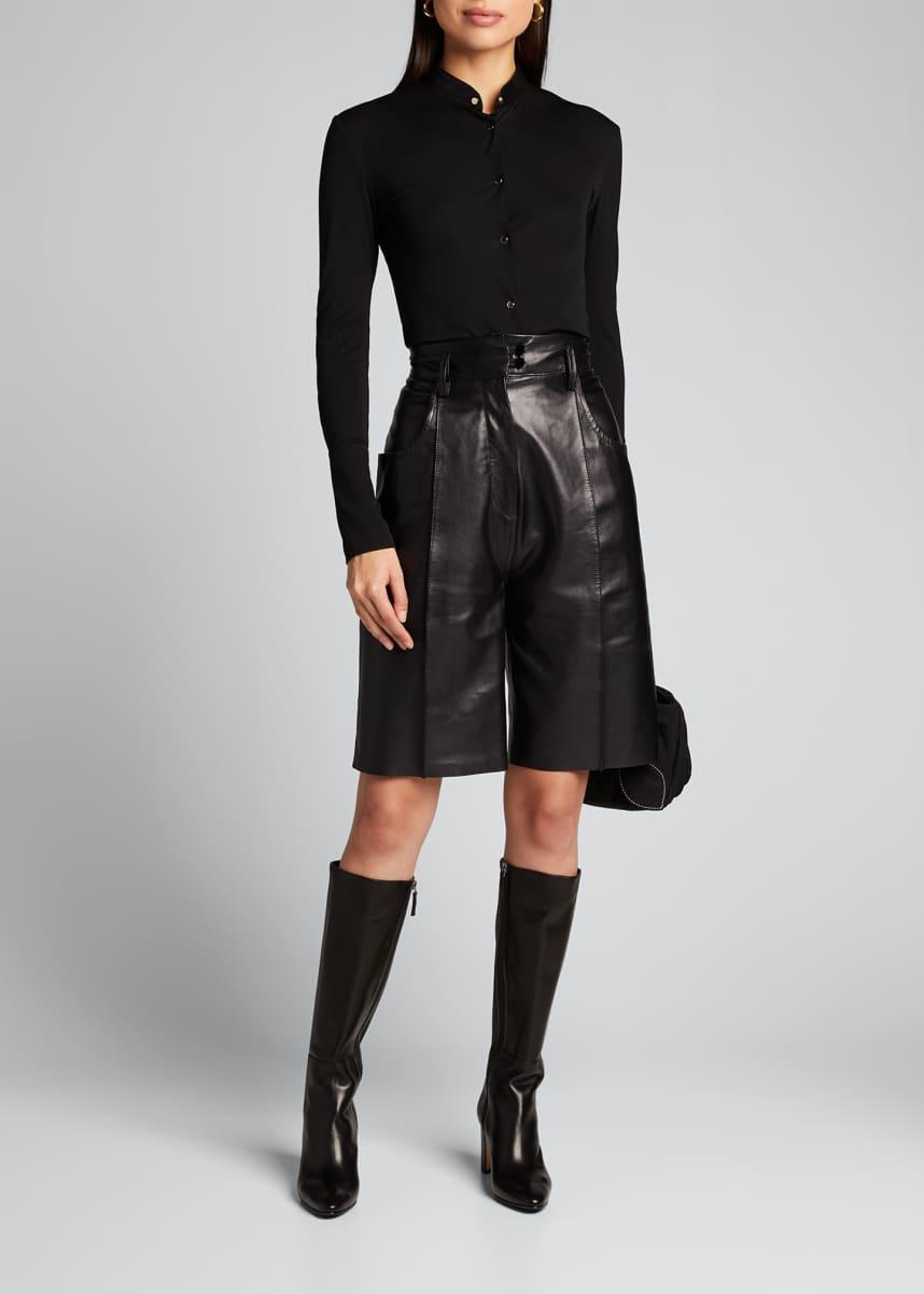 PETAR PETROV Hugo Leather Stitched Shorts
