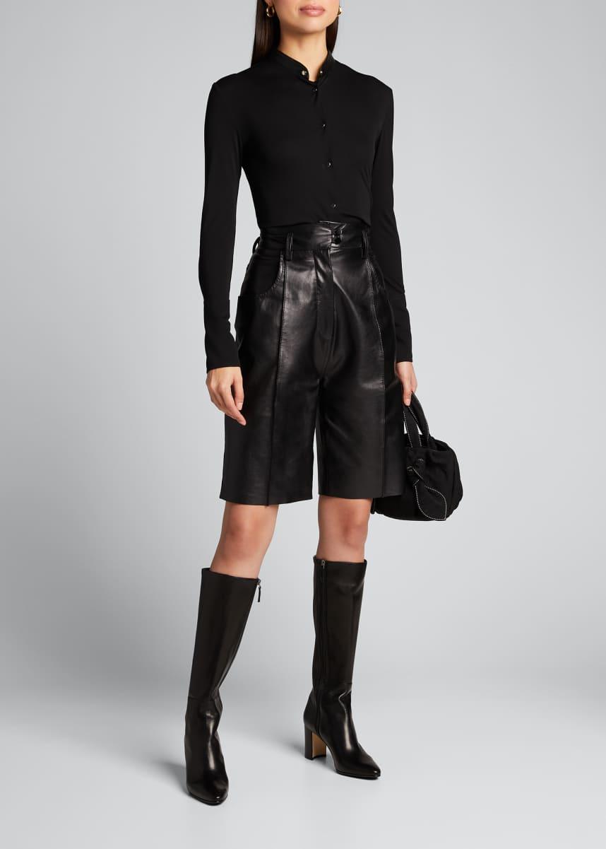 PETAR PETROV Carra Jersey Leather-Collar Shirt