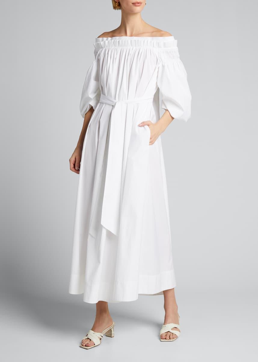 Gabriela Hearst Galatea Pleated Off-the-Shoulder Dress