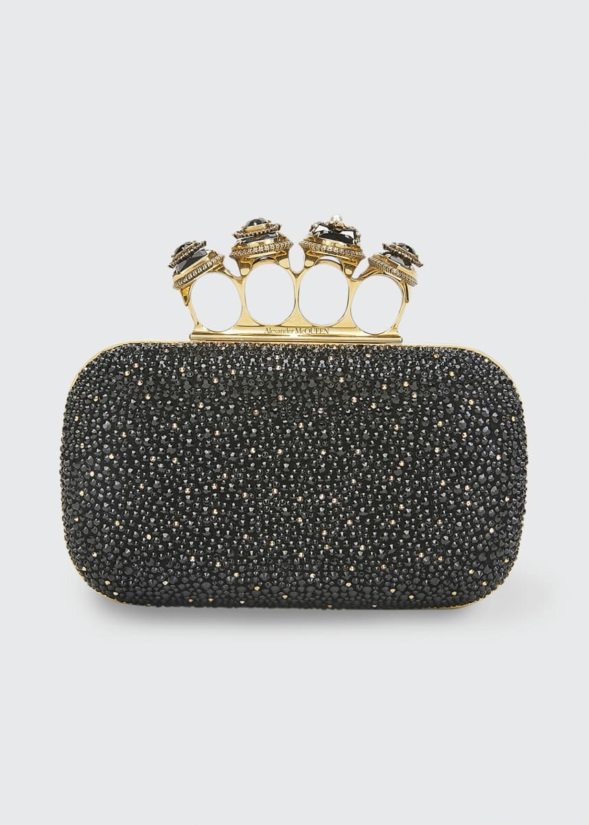Alexander McQueen Shimmery Stud Four-Ring Clutch