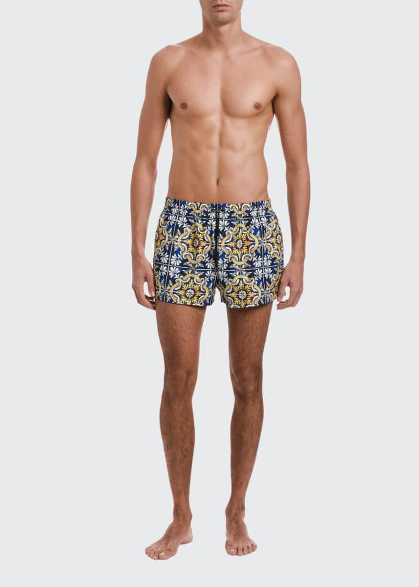 Dolce & Gabbana Men's Majorca Tile-Print Swim Trunks