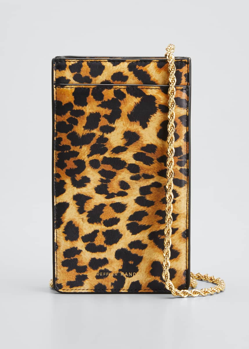 Loeffler Randall Augusta Leopard-Print Chain Phone Crossbody Bag