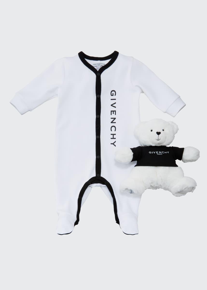 Givenchy Kid's Logo Footie Pajamas w/ Plush Bear, Size 1-9 Months