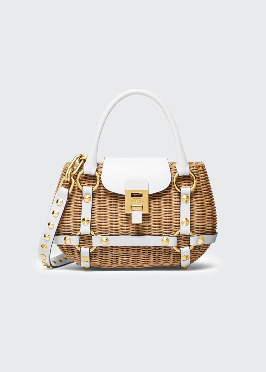 Michael Kors Collection Rattan Mini Harness Basket Bag