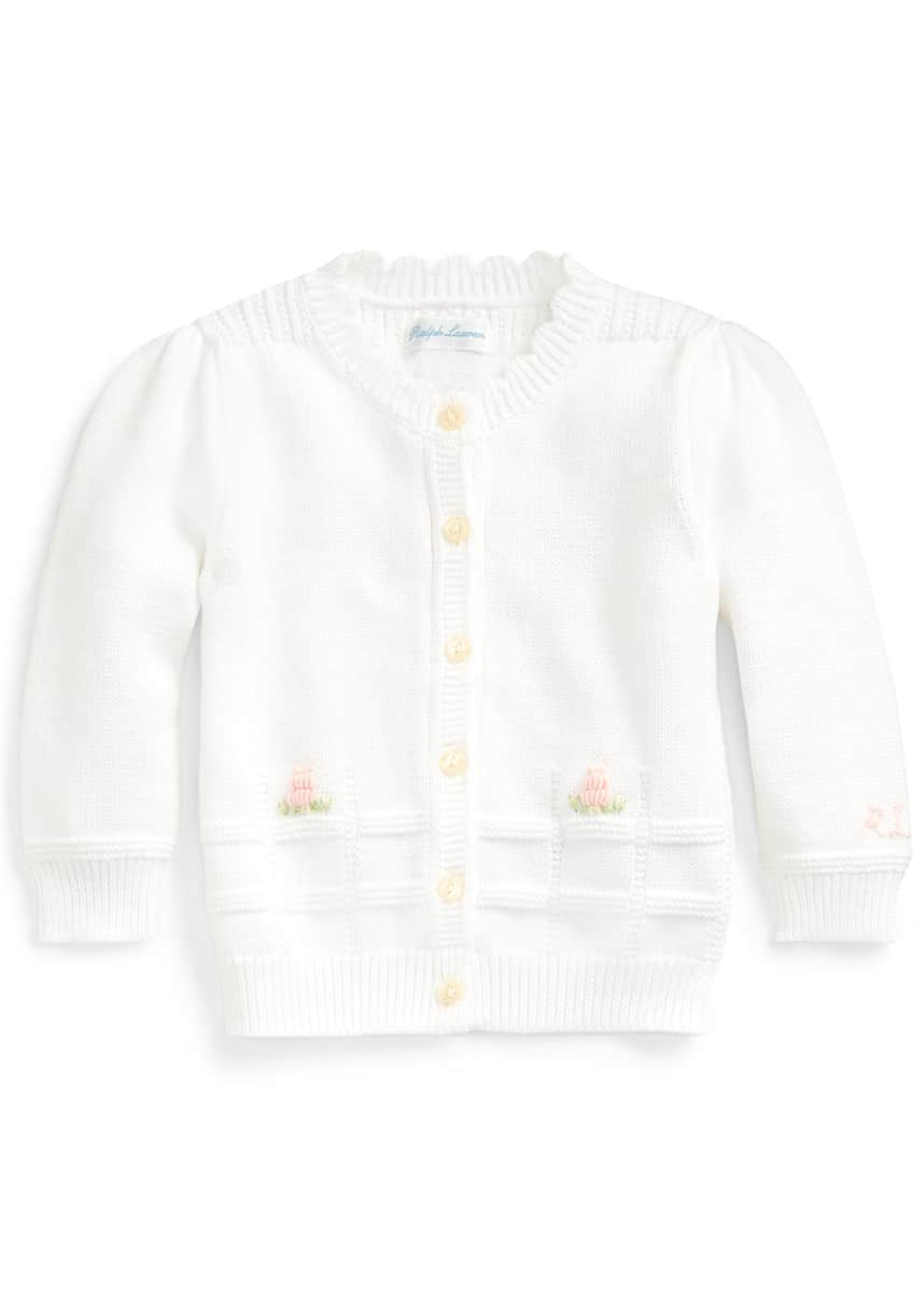 Ralph Lauren Childrenswear Combed Cotton Floral Embroidery Sweater Cardigan, Size 6-24 Months