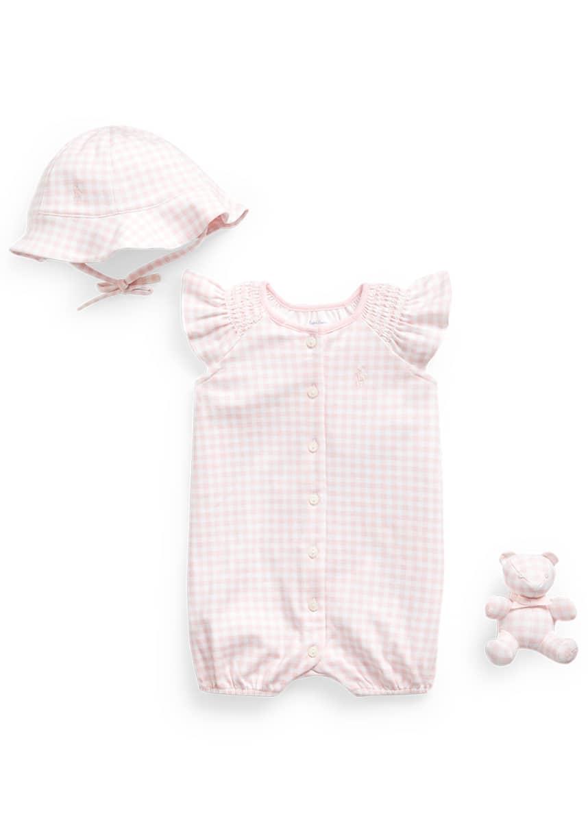 Ralph Lauren Childrenswear Interlock Gingham Print Shortall w/ Bonnet & Bear, Size 3-9 Months