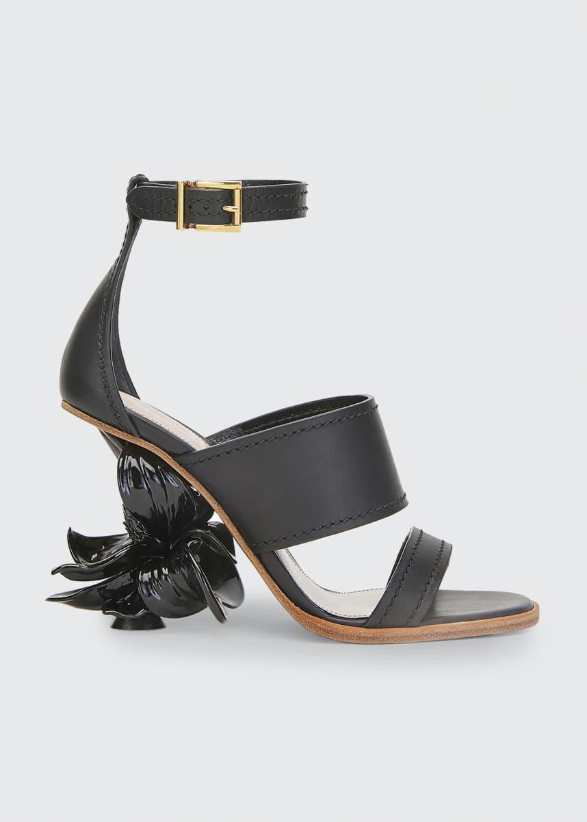 Alexander McQueen Flower Heel Ankle Sandals