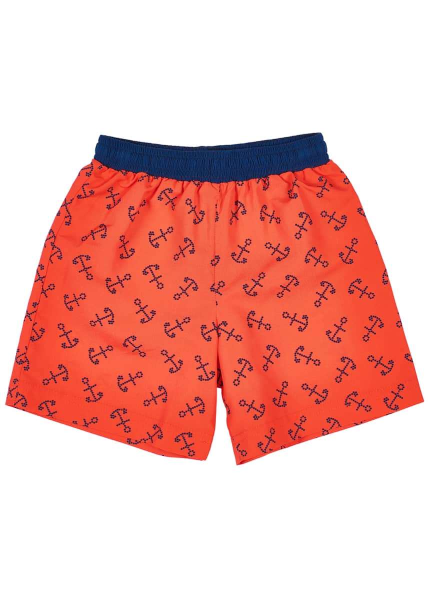 Florence Eiseman Boy's Anchor Print Swim Trunks, Size 4T-4