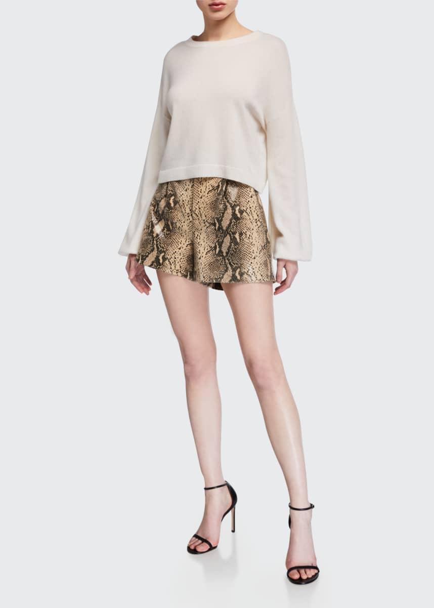 Alice + Olivia Dale Pleated Snake-Print Leather Shorts