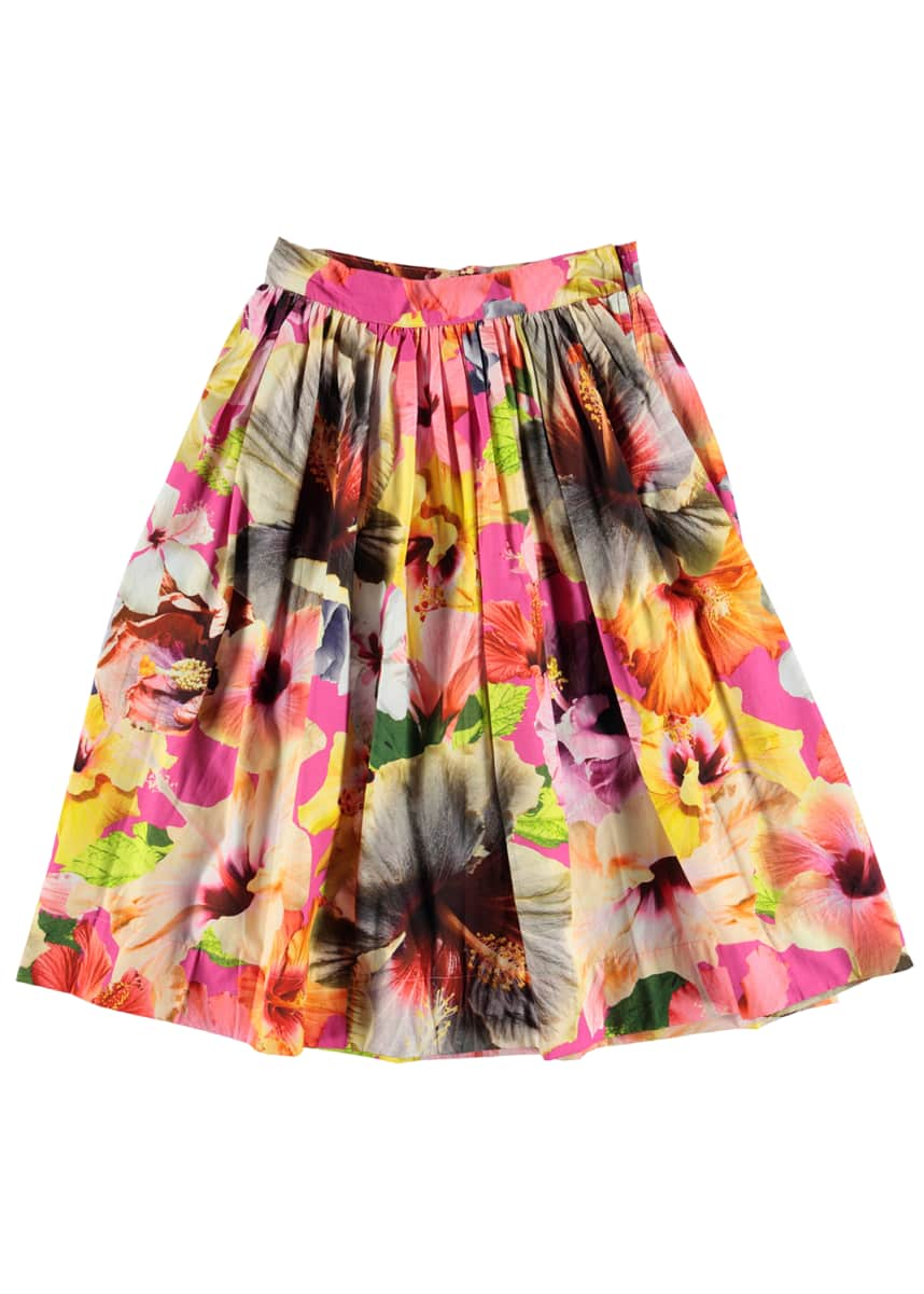 Molo Girl's Brittany Floral Print Midi Skirt, Size 5-14