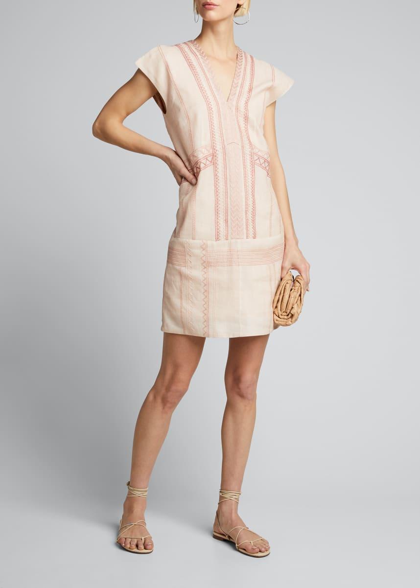 Collectiva Priscila Embroidered Linen Mini Dress