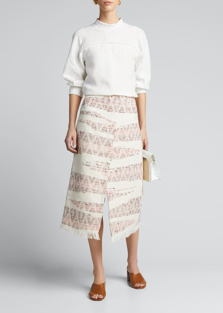 Collectiva Valentina Ikat-Striped Cotton Wrapped Skirt