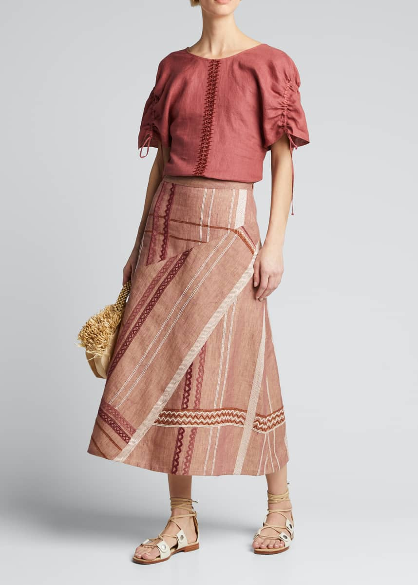 Collectiva Erendira Embroidered Linen Skirt
