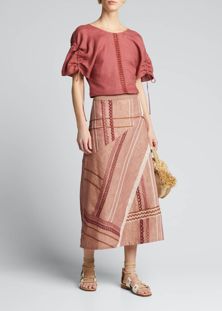 Collectiva Alicia Embroidered-Linen Tie-Sleeve Top