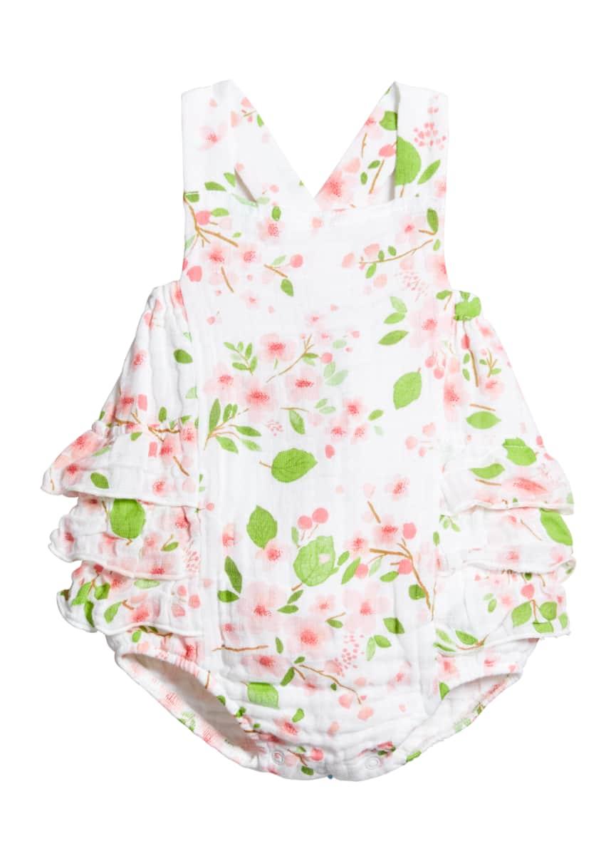Angel Dear Girl's Cherry Blossom Muslin Ruffle-Trim Romper, Size 0-18 Months