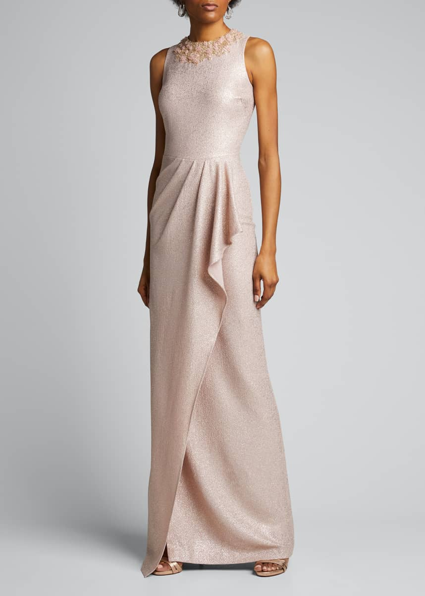 Rickie Freeman for Teri Jon Stretch Metallic Gown w/ Cutaway Draped Skirt