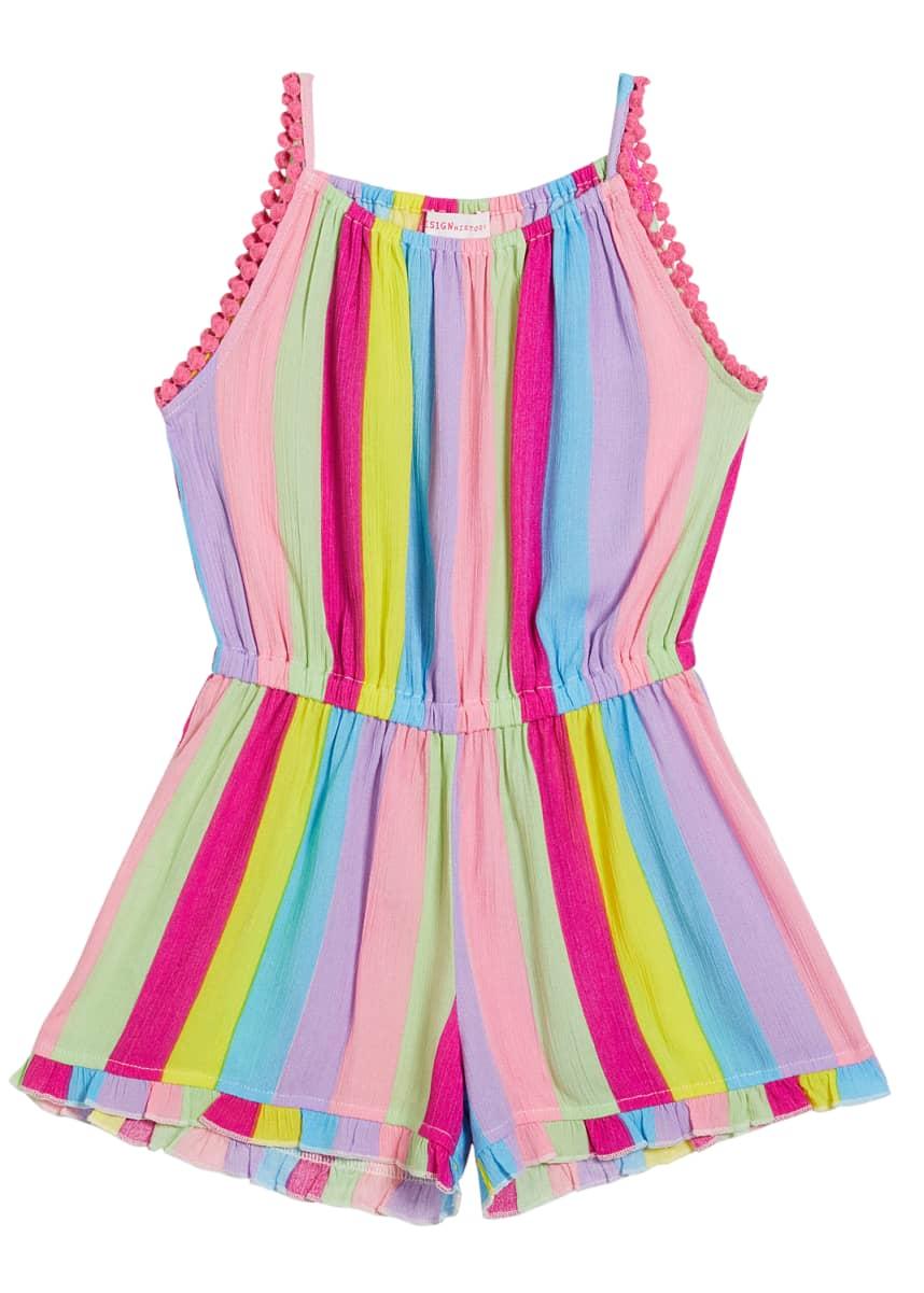 Design History Girls Girl's Rainbow Stripe Pompom Romper, Size 6X-6