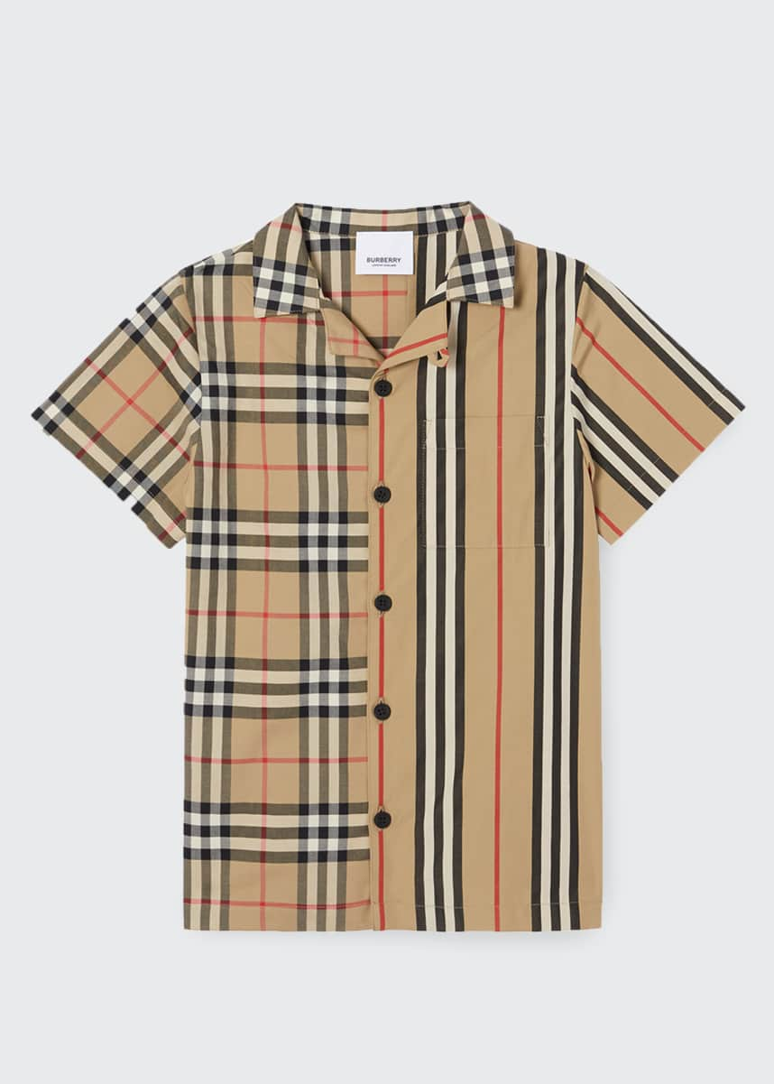 Burberry Boy's Jay Vintage Check & Icon Stripe Cotton Shirt, Size 3-14
