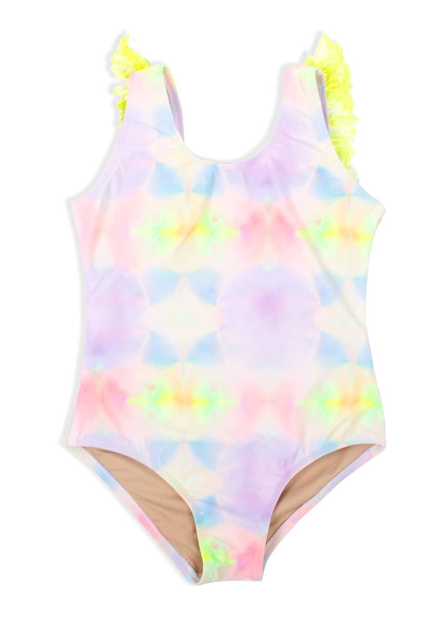 Shade Critters Girl's Multi Tie Dye Fringe Back One-Piece Swimsuit, Size 2-10