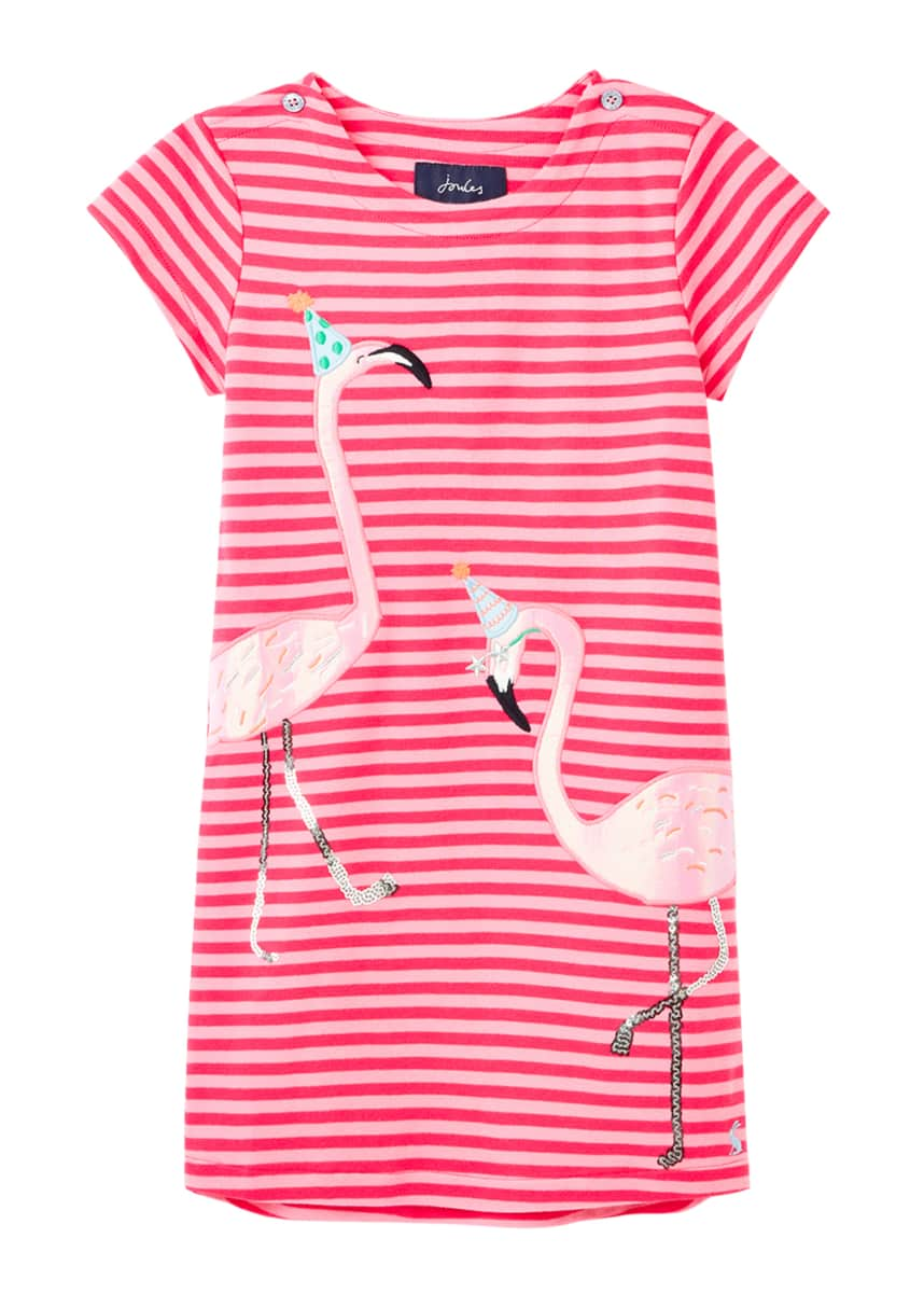 Joules Girl's Kaye Flamingo Applique Stripe Dress, Size 2-6
