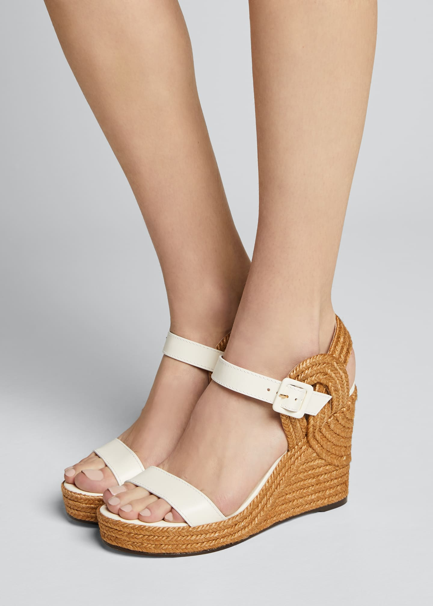 Image 2 of 5: Delphi Leather Espadrille Wedge Sandals
